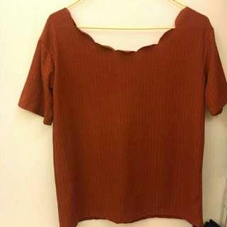橘紅 秋天 土色 花瓣領條紋上衣