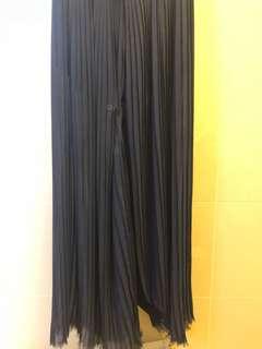 Mango絲質拖地褲(深藍)