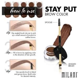 Instock Milani Stay Put Brow Colour Pomade Brow color Soft Brown
