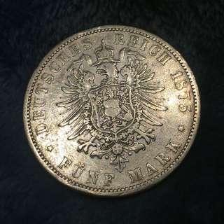1875年 德意志帝國 5 Mark 大銀幣
