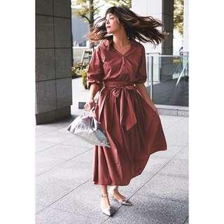 日系日牌三千金Mystada雜誌揭載絕美套裝收腰襯衫兩件組磚紅色小洋裝