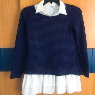 中大尺碼 兩件式 白領藍針織套裝 無袖背心裙 上班族套裝  休閒套裝 二手全新 未穿