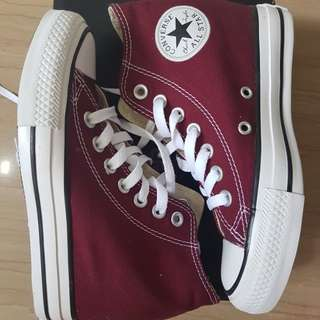 Converse Maroon Chuck Taylor All Star Lux Wedge Women Shoes