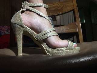 MY gold stiletto shoes