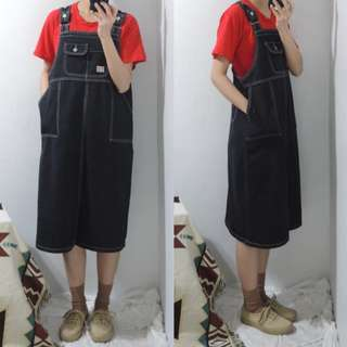 。error dot。小布標水洗車線牛仔吊帶裙