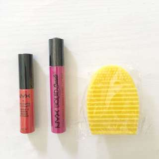 Bundle lipstick NYX free egg brush