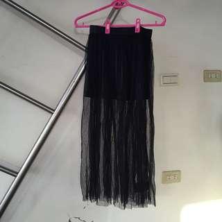 韓製 韓國製造 made in Korea 短裙內裡長紗裙 黑色 絲質內裡 免運