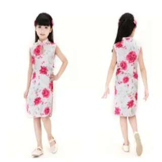 Kids floral sleeveless cheongsam