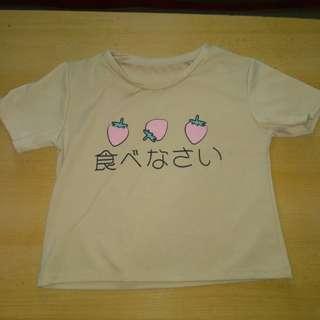 Short beige japanese strawberry shirt