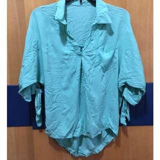 中大尺碼 蝙蝠袖 v領顯瘦上衣 襯衫 薄荷綠 二手近全新