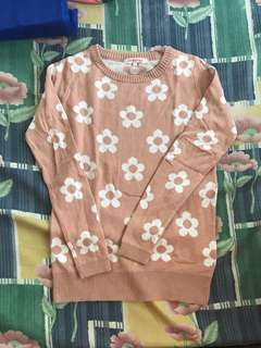 KOREAN FLORAL PULLOVER in Pink