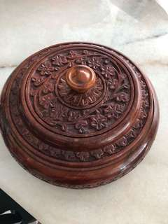 Thai antique wooden round container