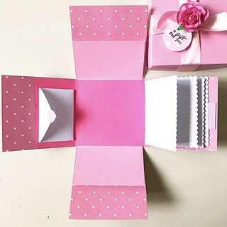 Diy Handmade sweet pink blank Explosion Box Card