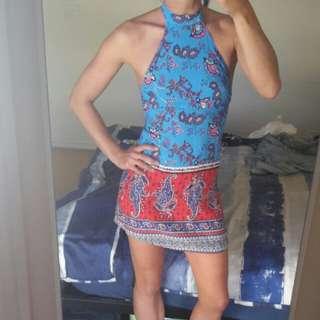 REVERSE gypsy boho pasley festival mini halter dress backless XS 6/8