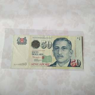 Singapore $50 (low number)