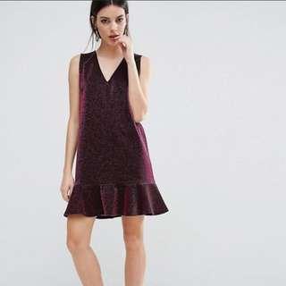 ASOS PETITE Metallic Dress with Pep Hem