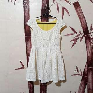 White floral cutout dress