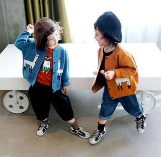 【BABYWEAR】【CLOTHING】【GIRL】PCO0004 CHILDREN BABY TODDLER GIRL CUTE BROWN & BLUE CARDIGAN OUTWEAR