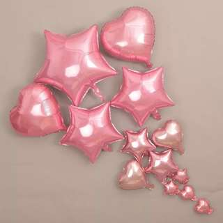 Pink Hearts and Stars Balloons