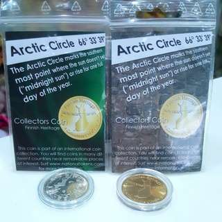TWO Finland Finnish Heritage Arctic Circle Collectors Coin Medallion