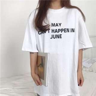 Words Print Short Sleeve Loose Tshirt Dress