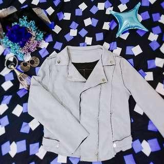 🏵灰色-線條剪裁麂皮外套