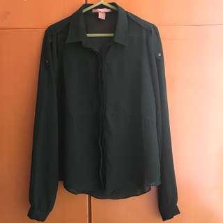 Forever21 F21 OL 斯文鬆身深綠色恤衫 dark green loose-cut blouse