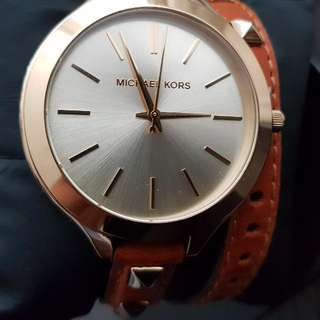 Authentic Leather And Doble Strap Michael Kors Watch