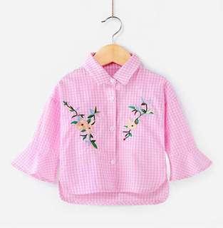 【BABYWEAR】【CLOTHING】【GIRL】PCT0001 CHILDREN BABY GIRL KID PINK CHECKER LONG SLEEVES TOP