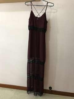 H&M maroon strap lace maxi dress
