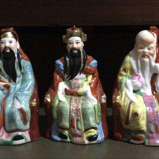 Vintage Porcelain Figurines - Fu Lu Shou