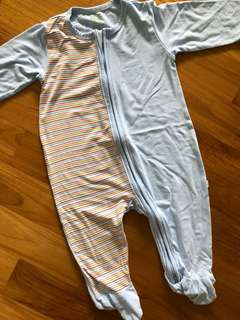 Simply Life Bamboo Onsie Romper Footed Zip Sleep Suit Blue and Colourful Stripes
