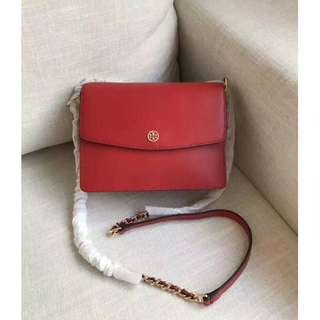Tory Burch Leather Shoulder Chain Convertible Red Bag