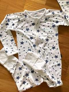 Bonds Zippy Wondersuit White with Blue Stars Long Sleeves Footed Sleep Suit Romper Onsie