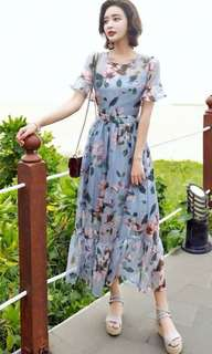 Blue floral elegant dress PRE order