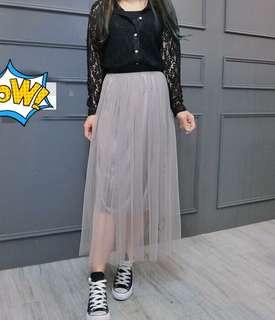 🚚 飄逸紗裙(黑、灰)