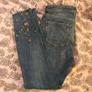 ZARA Embroidered Denim Pants