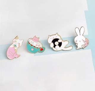 Cat and Rabbit Enamel Pins