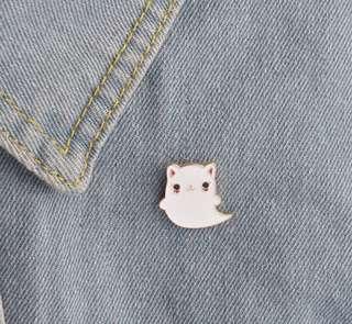 Cat Ghost Enamel Pin