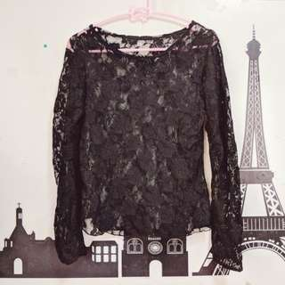 Black lace long sleeved top