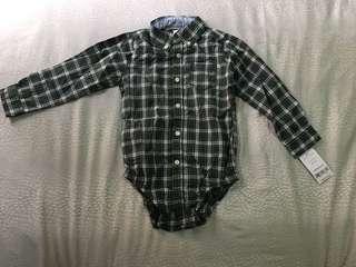 BNWT- Carter's Checked Shirt Romper (24m)