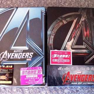 (全新)復仇者聯盟 Avengers Marvel 藍光 鐵盒 限量版 2D+3D BLU-RAY BD HULK IRON MAN 鐵甲奇俠 雷神 美國隊長 送 紀念鎖匙扣一套 送迷你海報一張約A5size