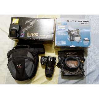 Nikon D3100 with kit lens and other accessories