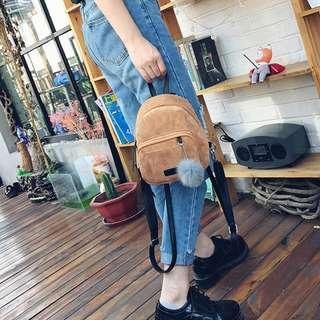 Mirene Velvet Mini Bagpack (Brown)