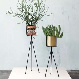 Flower Plant Pot Stand - Gold & Black