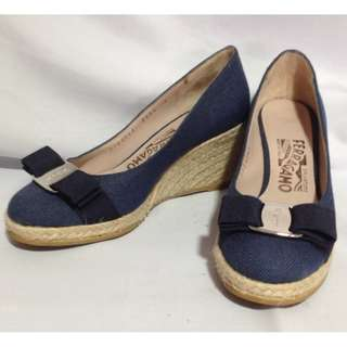 Authentic SALVATORE FERRAGAMO Denim Wedge Size 4C