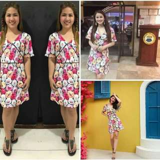 ✔NEW ARRIVAL ☺☺☺     👉 BESTSELLER ❤❤❤ ✔350 ✔OVERLAP FLORAL DRESS ✔ COTTONY SPANDEX FABRIC  ✔FREESIZE ONLY -(SMALL-LARGE FRAME) ✔1 COLOR AVAIL