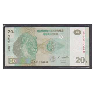 "(BN 0077) 2003 Congo 20 Franc, Beautiful ""Lion Note"" - UNC"
