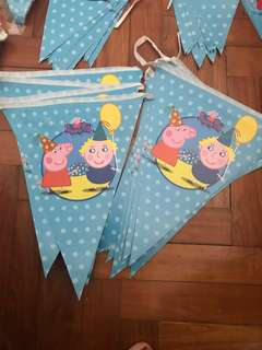 Like new used once Peppa pig party flags