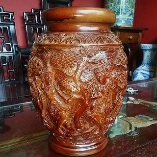 Bali Wood Carved Vase Rama Sita .. Carving Are All Around The Vase